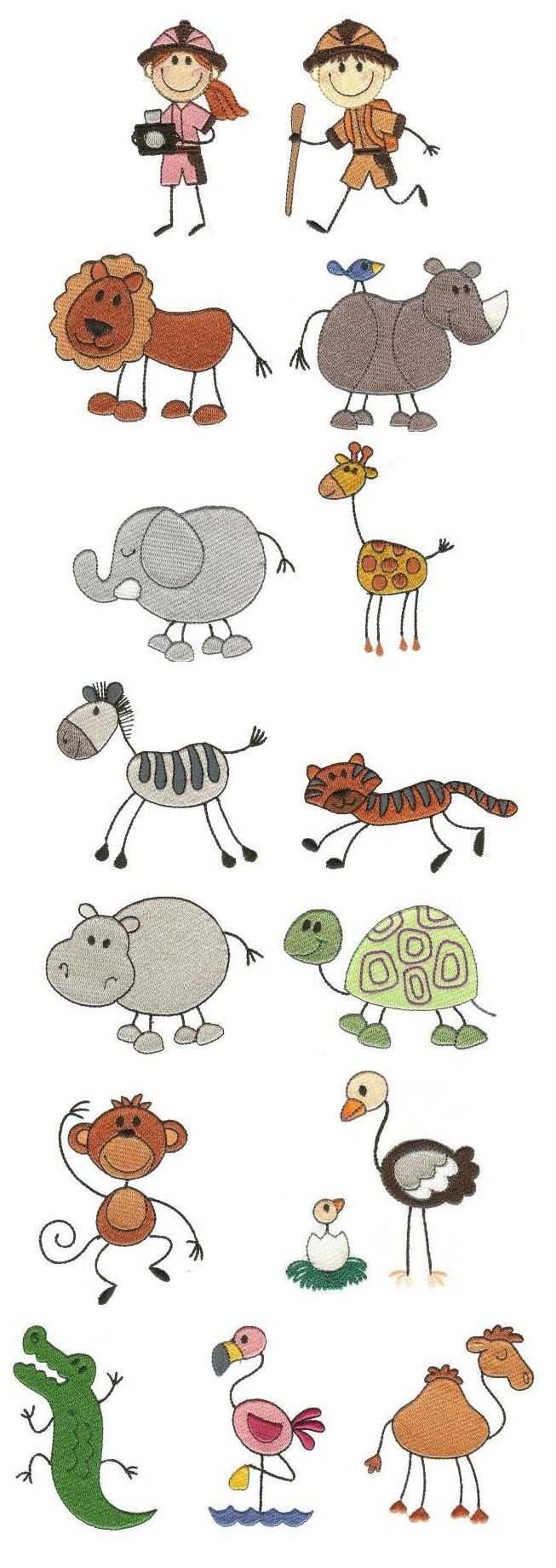 The Stix Family Safari Embroidery Design Set Available For