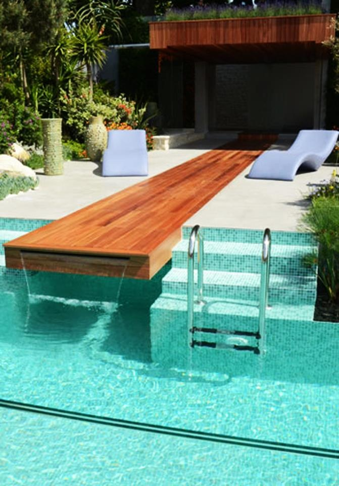 Pool deck into waterfall