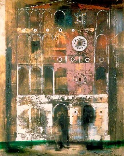 'Palazzo Dario, Venice' (c.1959) by English painter & printmaker John Piper (1903-1992). Oil on canvas, 153.5 x 123 cm. via BBC