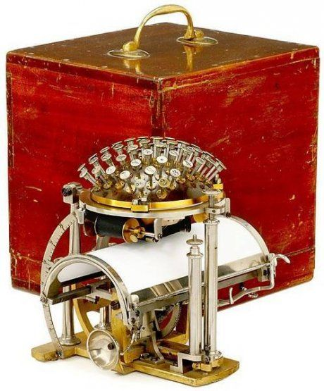 La bola de escribir: Writing Ball, Hansen Writing, Rasmus Malling Hansen, Photo, Steampunk, Produced Typewriter, 1865, Typewriters