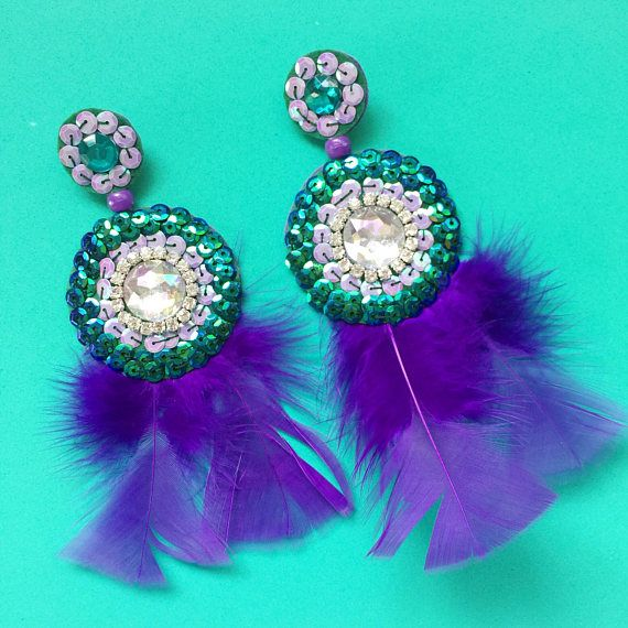 Large Purple and Green Irridescent Statement Earrings with