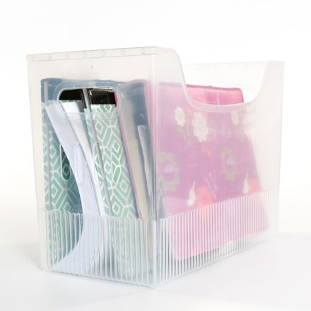 Organise your files, magazines and paperwork into the Plastic File Organiser (large).  Divide items easily. Clear plastic for easy viewing of contents. Cut-out in the front makes the organiser easy to pull off a shelf. Lightweight yet durable.