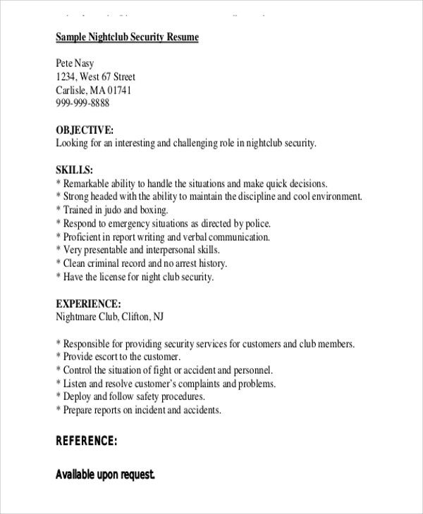 Security Guard Resume Templates 12 Free Word Pdf Security