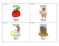 Noun Flash Cards Word List: Apple, Baby, Ball, Bear, Bed, Bell, Bird, Boat, Boy, Bread, Cake, Car, Cat, Chair, Chicken, Coat, Corn, Cow, Dog, Duck, Egg, Fire, Fish, Flower, Girl, Grass, Hand, Head, Horse, House, Leg, Letter, Milk, Money, Nest, Pig, Rabbit, Rain, Ring, School, Seed, Sheep, Shoe, Snow, Sing, Street, Sun, Table, Top, Toy, Tree, Watch, Water, Wind, Window.