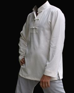 3 Buttons Hemp and Linen White Tai Chi Shirt for Men and Women via Asia-Sale Best Tai Chi, Kung Fu Clothing