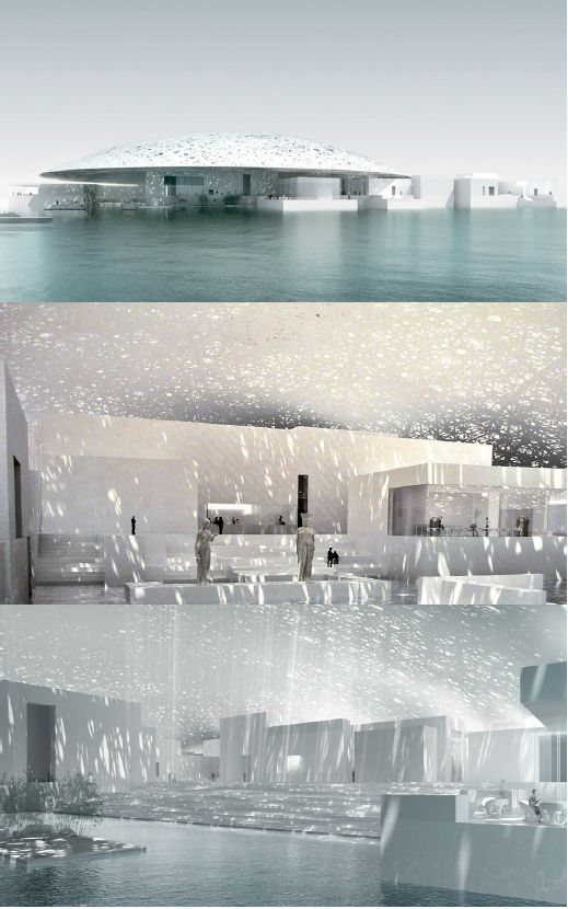 (Jean Nouvel's Louvre Museum,  Abu Dhabi) Nouvel uses inspiration from Arab engineering to constructing a multi-layer geometric pattern roof which allows a 'rain of light.' The design of the roof shows a good example of slow-interdisciplinary, by taking a idea from a different field and adapting it to the overall design of the museum.