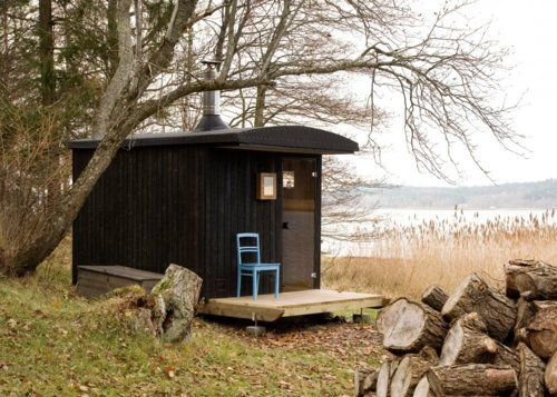 Sauna on the Åland Islands by Denizen Works.    Built from local materials and designed with sleigh runners, the sauna can be towed out onto the ice in winter to provide immediate access to a frigid plunge.