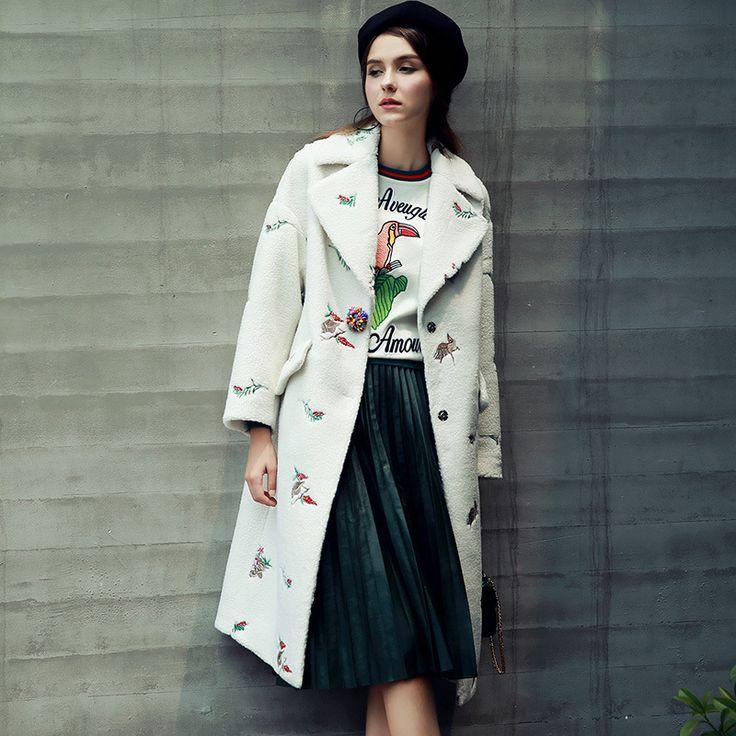 2017 Новая Мода Корейский Стиль Блудниц Пальто Вышивка Turn Down Воротник Женщин Пальто Белый Длинное Пальто Женщин Casaco Feminino купить на AliExpress