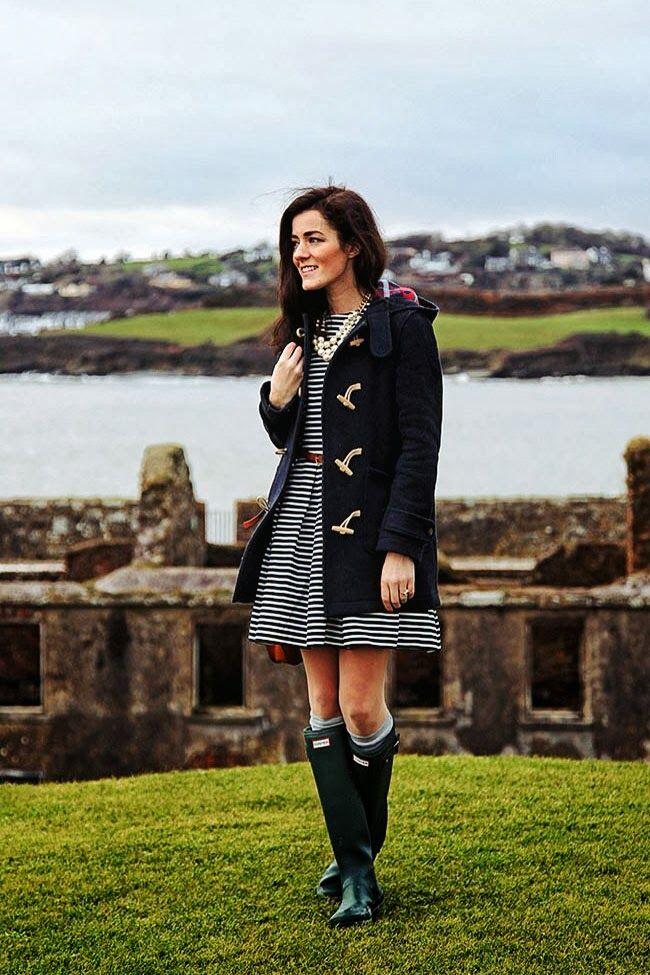 Green hunter boots, high rise socks, stripped dress, navy ...