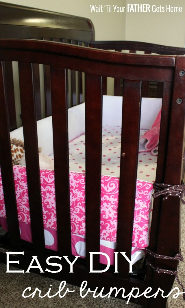 Easy DIY Crib Bumpers via Wait Til Your Father Gets Home #cribbumpers #DIYcribbedding