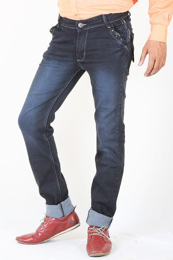 http://tinyurl.com/j4wksbr Buy Online Stylish & Branded JUST Navy Blue Stretch Denim Jeans For Men at GetAbhi.com