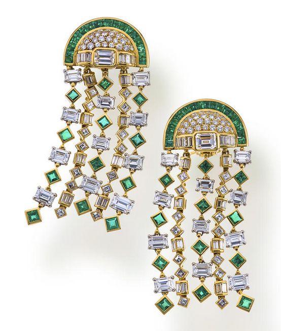 via by sasha a pair of emerald and diamond pendant earclips bulgari