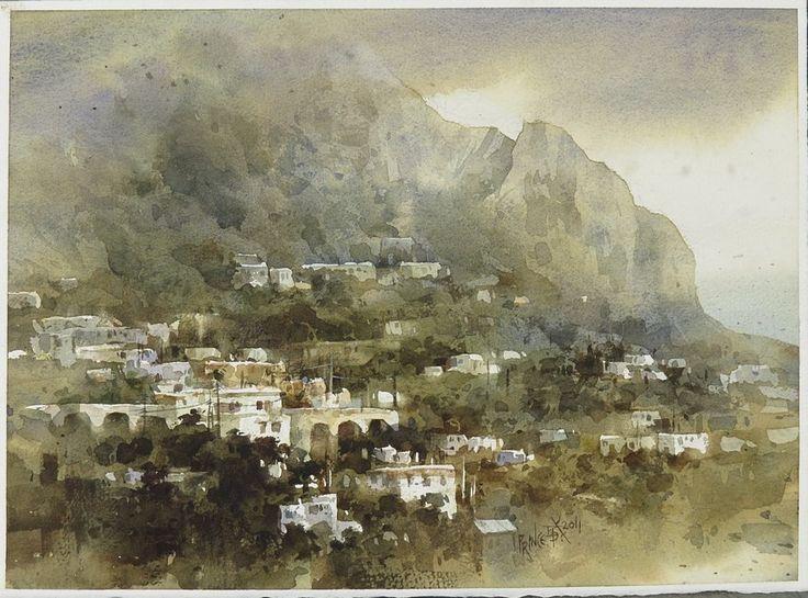 【卡布里島,(Capri)】27*36CM,2011 Watercolour,ARCHES ............By Chien Chung Wei,