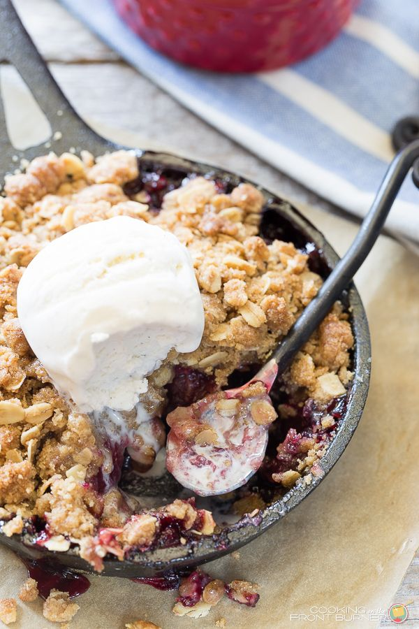 You will love these individual cherry crisps made with fresh cherries and topped with vanilla ice cream.