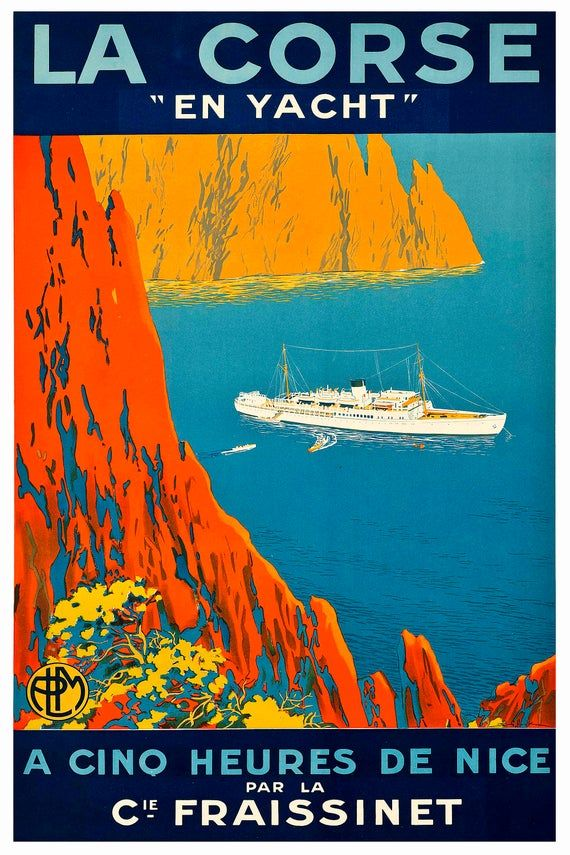 Reprint Of A Vintage French Travel Poster To Corsica Etsy Travel Posters Vintage Travel Posters Vintage Travel