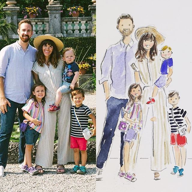 Custom watercolor family portraits. Side-by-side. #customportrait #familyportrait