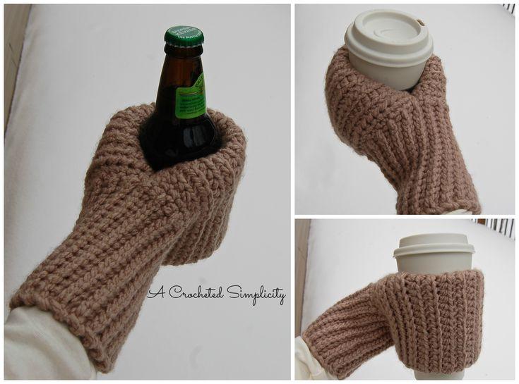 """Free Crochet pattern: """"Knot Knit"""" Coffee & Drink Mitt by A Crocheted Simplicity #crochetdrinkmitt #freecrochetpattern #crochet"""