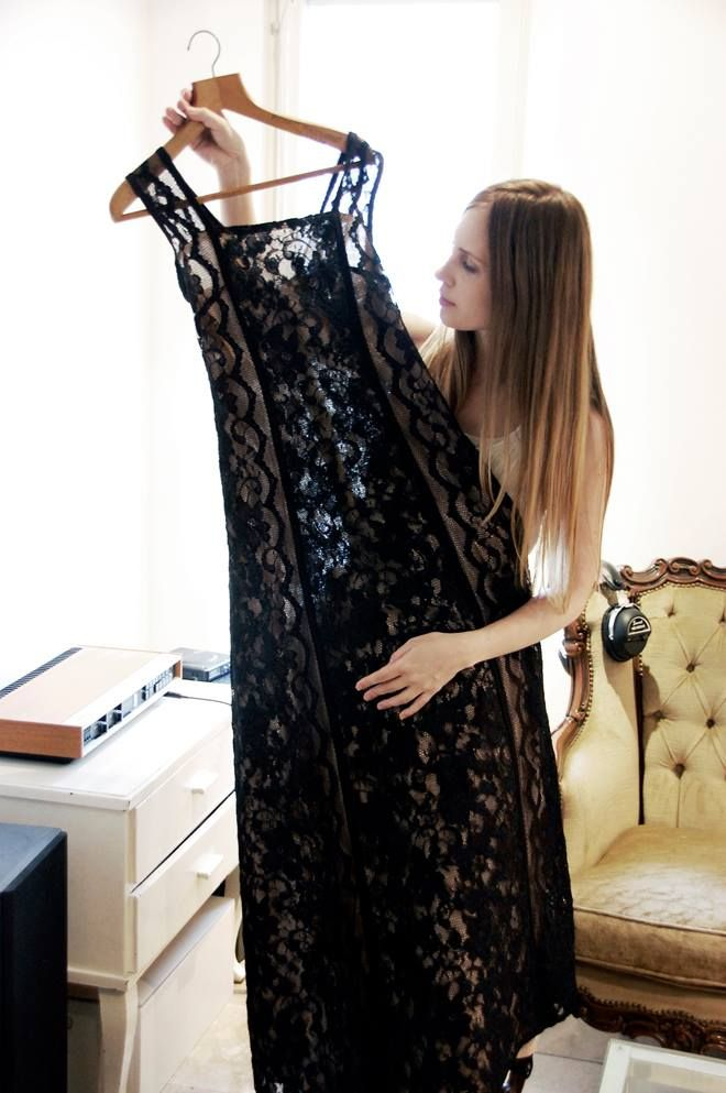 Ninaco couture dress made of black lace and designer Nina Hirvonen www.ninaco.co