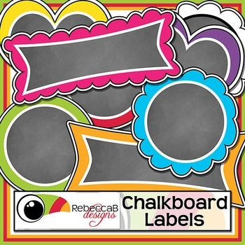 Chalkboard Labels contains 54 fun and brightly colored, chalkboard filled labels, perfect for product covers, name tags, folders, shelves, posters etc. Import to your editing program and add text over the chalkboard.  There are 6 different styles, framed with 9 different colors, including black and white.