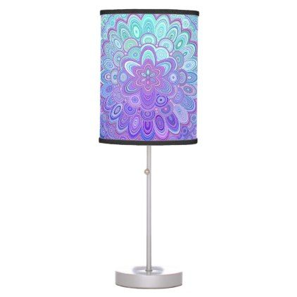 Mandala Flower in Light Blue and Purple Desk Lamp - decor gifts diy home & living cyo giftidea