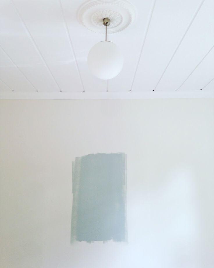 Lite oväntat håller vi på att måla en fondvägg i vardagsrummet. Det är jakten på Yin  som öppnar nya dörrar och den här blå-grön-grå färgen...