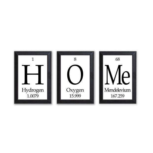 """Home Periodic Table Framed 3 Piece Wall Plaque Set Periodic Table Framed 3 Piece Wall Plaque Set  Each Plaque 5"""" x 7"""" - Geeky Home Decor"""
