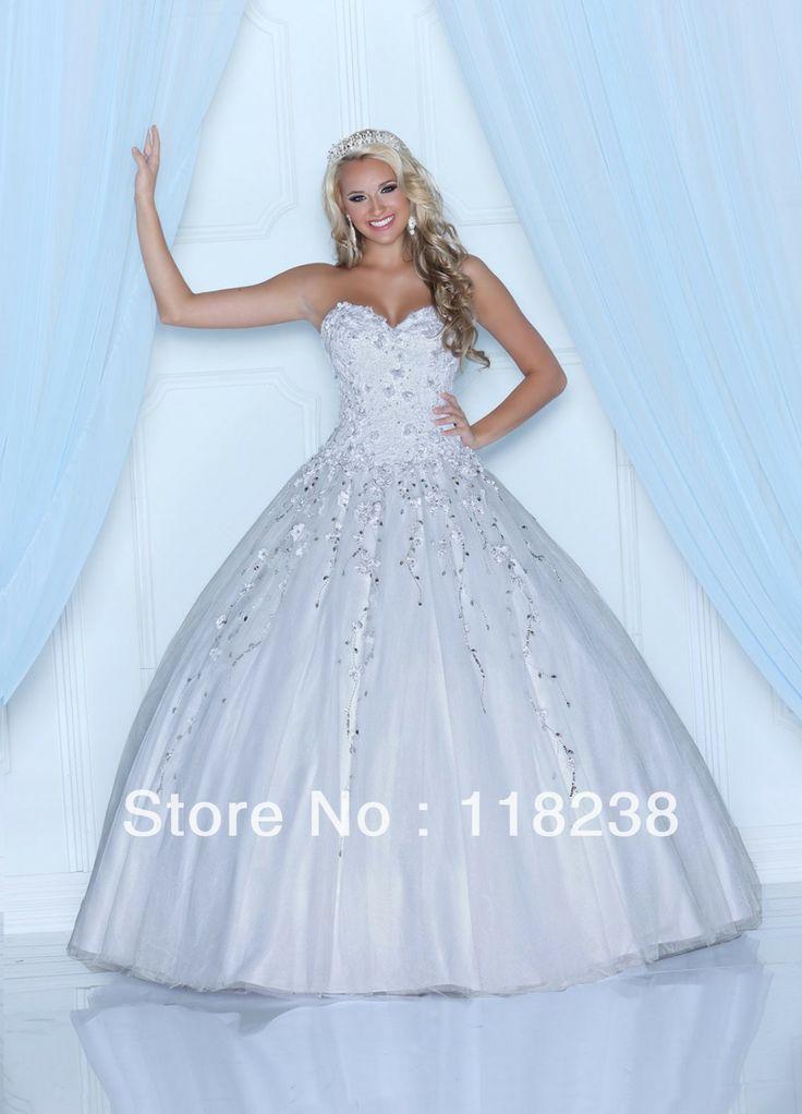 Nouveau 2014 blanc paillettes fleurs gonflés corset, 15 douce robe de bal quinceanera 80210
