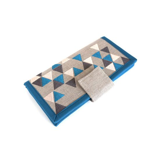 Womens Wallet / geometric triangle wallet / linen by Marillis