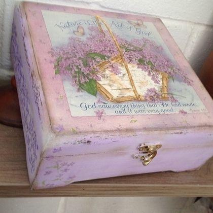 Чайная коробка Корзинка с сиренью - бледно-сиреневый,сирень,шкатулка