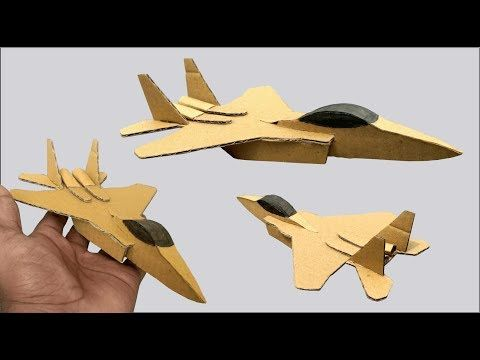 How To Make A F 15 Jet Plane Out Of Cardboard Diy Cardboard Toys For Kids Youtube Cardboard Airplane Diy Cardboard Toys Plane Crafts