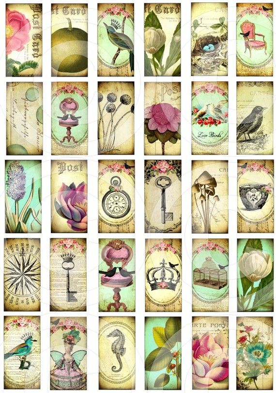Digital Collage Sheet 1x2 Inch Printable By Landofenchantment 4 98 Digital Collage Sheets Collage Sheet Domino Art