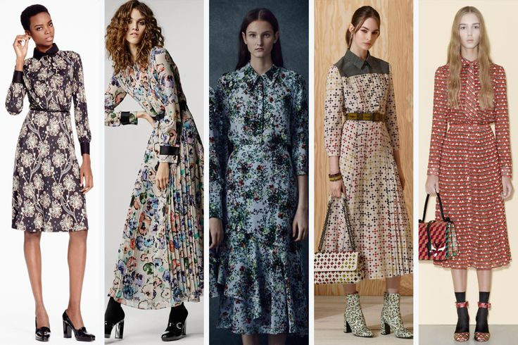 All over prints at Brooks Brothers, Giorgio Armani, Erdem, Bottega Veneta and Red ValentinoA 70s spin-off, the fun all-over prints on midi length dresses run modest with high buttoned collars and long sleeves..