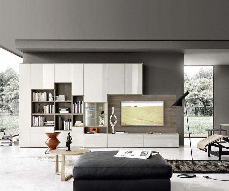Das Moderne Design Bücherregal C64 Hat Türen Und Ein TV Paneel, Weshalb Es  Wie Eine