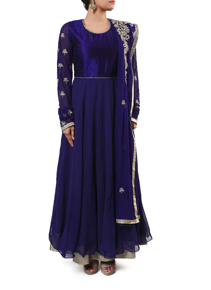 Cbazaar Dark Blue Georgette Ankle Length Anarkali Suit