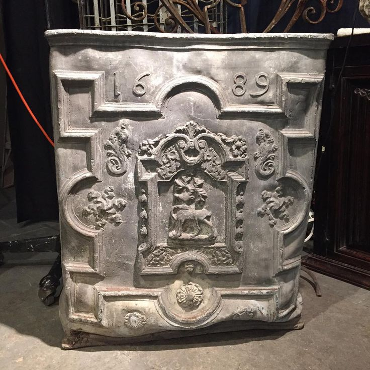 Antique European lead cistern dated 1689 with a armorial crest incorporating a white hart/stag motif #antique #antiques #cistern #availablenow #contextdesignca #availablenow #toronto