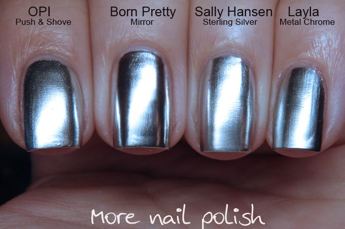 Silver chrome / mirror nail polish comparison ; 2/22/16