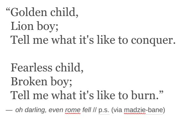 """Oh darling - even Rome fell."""