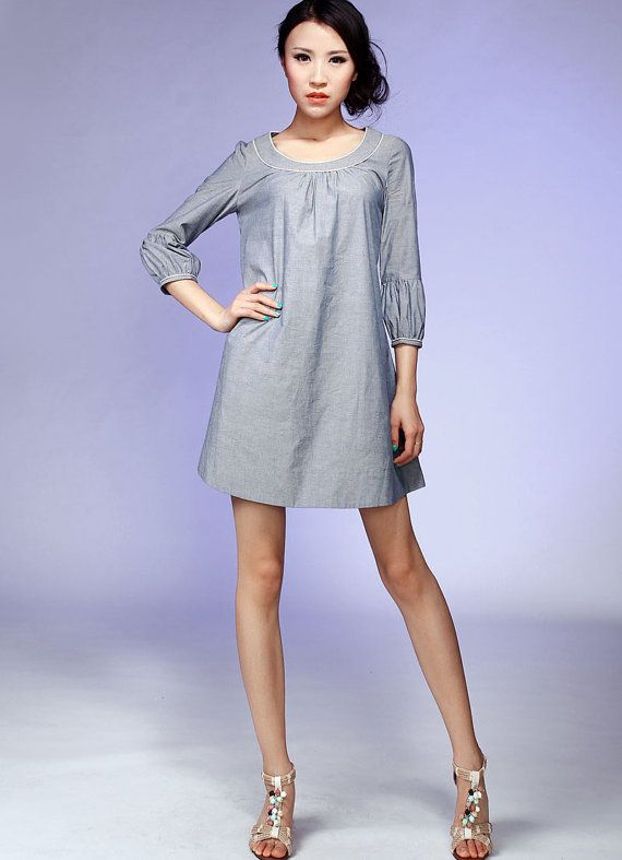 This would be a great top....Gray cotton mini dress swing dress 530 by xiaolizi on Etsy, $49.00