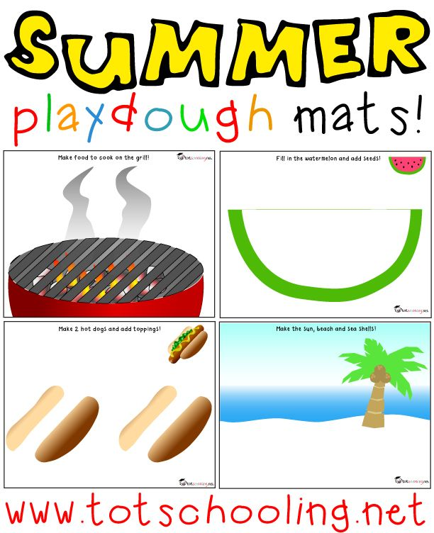 Free Summer Playdough Mats from Totschooling
