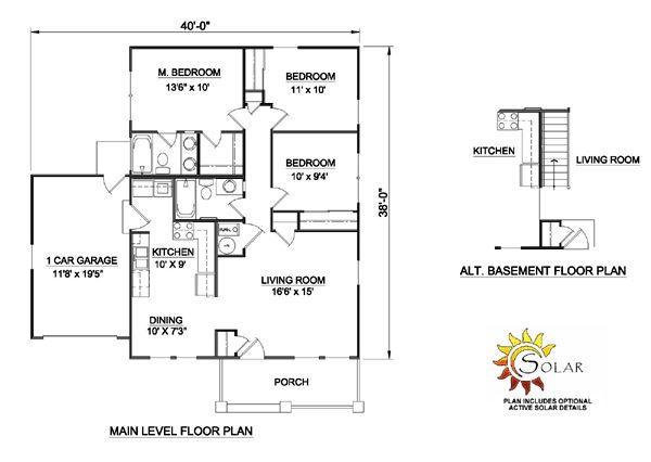 First Floor Plan of Bungalow   Country   House Plan 94374 - - move the ac and wh to garage & make that space linen closet