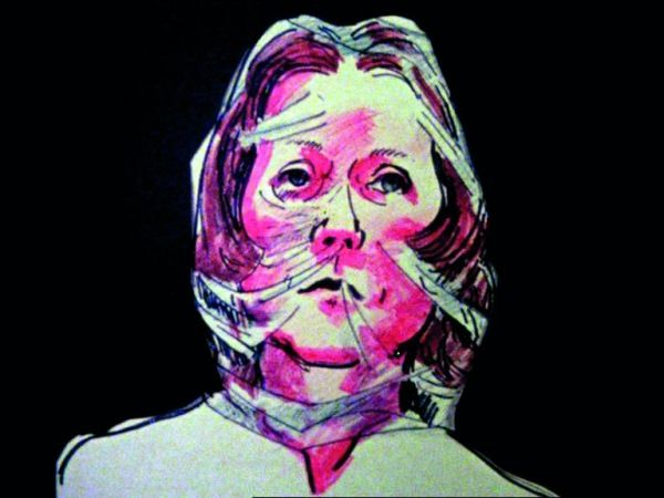 Film still illustrative self-portrait of Maria Lassnig showing her with a bright…