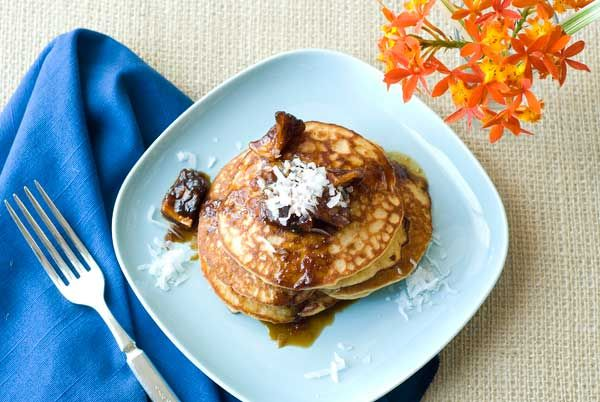 Gluten Free Pina Colada Pancakes Recipe   Simply Gluten Free - maybe water instead of coconut milk and add some cinnamon