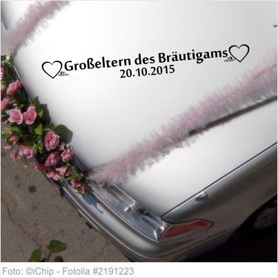 Autoaufkleber Hochzeit - Großeltern des Bräutigams mit Datum