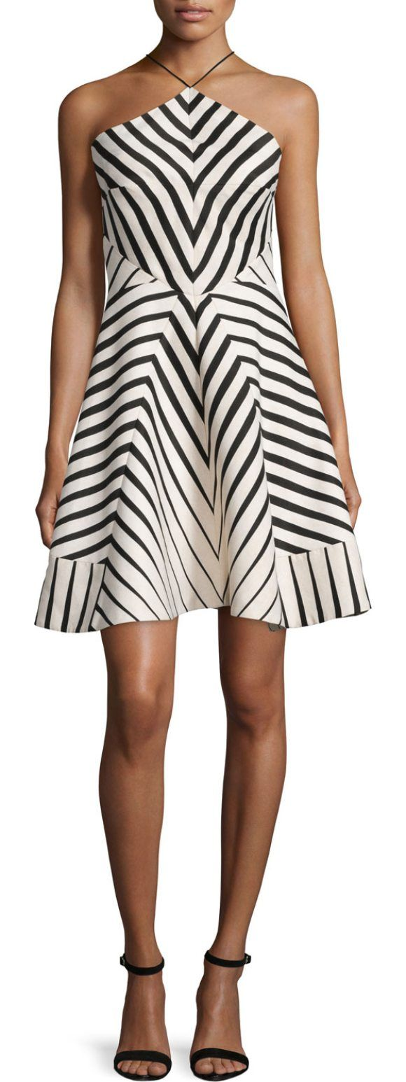 On SALE at 65.00% OFF! Halter-Neck Striped Fit & Flare Dress by Halston Heritage. Halston Heritage striped-structured dress. Halter neckline. Sleeveless; cut-in shoulders. Fit-and-flare silhouette. N...