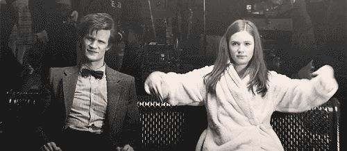 hm0880:  potterwhovian:  Basically Doctor Who.  ^Except Matt's the one doing the goofy stuff while Karen sits there looking confused and displeased. :D  Is this Karen's dance move? If Matt has the Drunk Giraffe, can Karen have the Drunk Zombie?