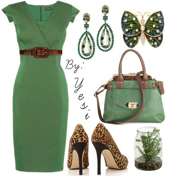 Combinacion en camel y verde bandera, vestido recto para un estilizado perfecto al cuerpo. 45