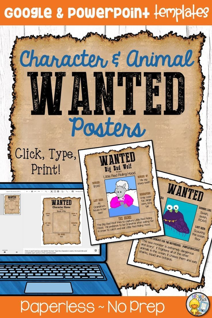 Wanted Poster For Character Or Animal Google Powerpoint