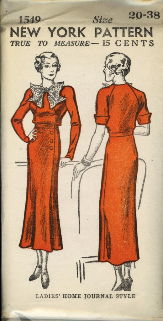 Vintage Sewing Pattern - ERA: 30s  Pattern Publisher: New York  Pattern Number: 1549  20-38