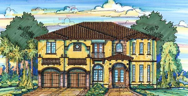 4 bedroom floor plans, Mediterranean/Spanish style home; not crazy about the outside, change wine cellar into some sort of library, make media rm another bedroom, and change game room to storage and media room.