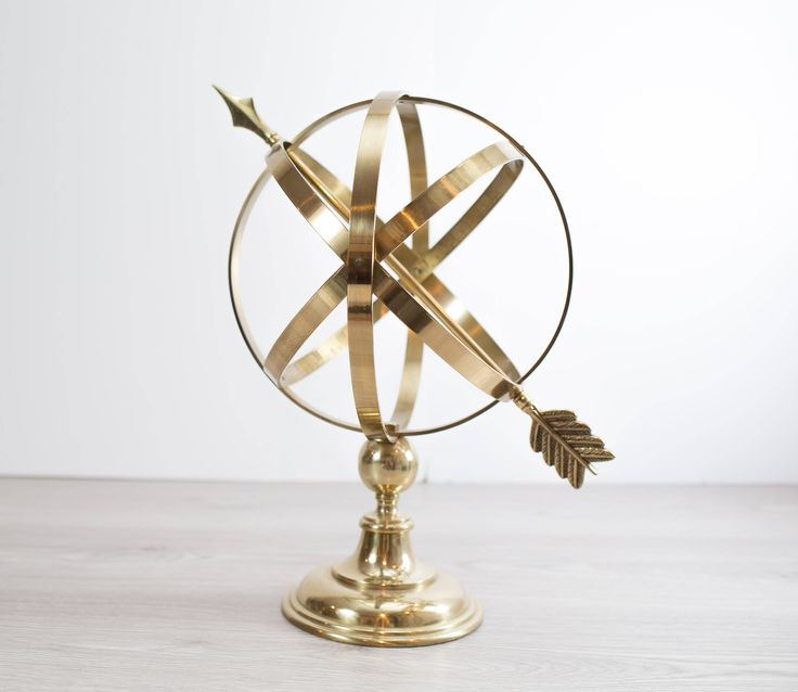 Brass Armillary Celestial Sphere / Large Tabletop Globe with Arrow Office, Living Room or Bedroom Decor / by secondvoyagevintage on Etsy https://www.etsy.com/ca/listing/543170829/brass-armillary-celestial-sphere-large